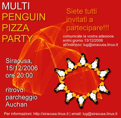 Multi Penguin Pizza Party @ Siracusa